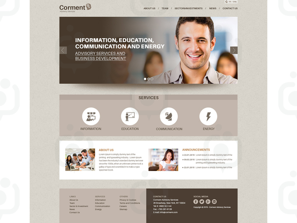 Corment advisory services homepage thumbnail