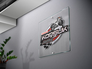 Logo on glass or poster