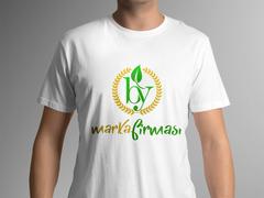 B ve Y Harfli Yapraklı Marka Logosu T-shirt Tasarımı