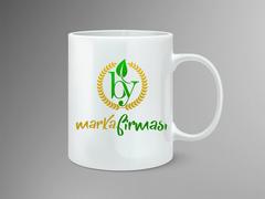 B ve Y Harfli Yapraklı Marka Logosu Mug Tasarımı