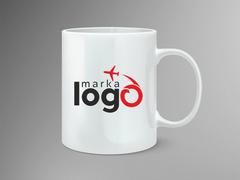 Uçaklı Marka Firması Logo Mug Tasarımı