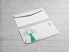 Kadın ve ağaç logo Zarf Tasarımı