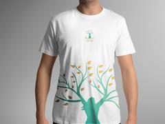 Kadın ve ağaç logo T-shirt Tasarımı