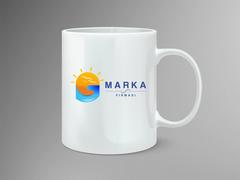 Güneş, Kuşlar, G Harf Marka Logo Mug Tasarımı