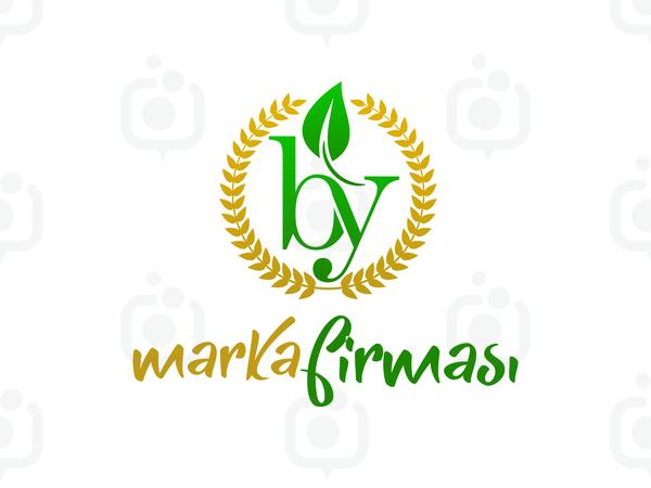 B ve Y Harfli Yapraklı Marka Logosu logo