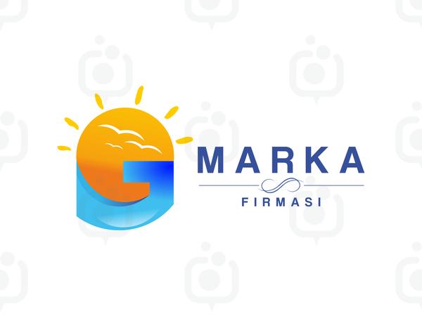 Güneş, Kuşlar, G Harf Marka Logo logo