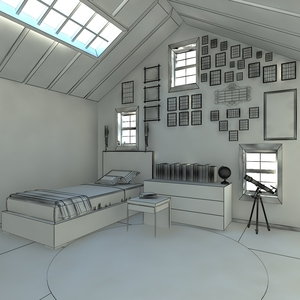 A room   wireframe render by s bedel