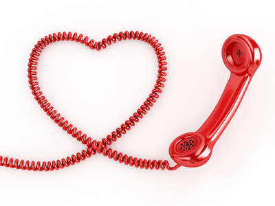 Phone reciever with heart cord copy
