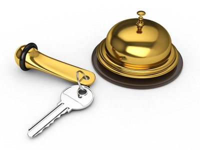 Hotel key and reception bell copy